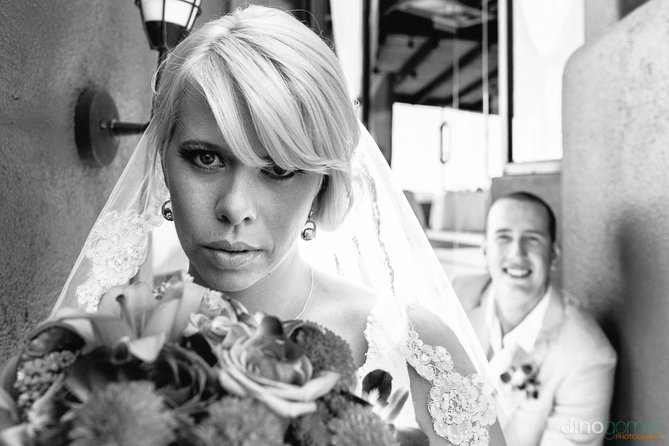 Beautiful black and white closeup shot of the bride on her wedding day