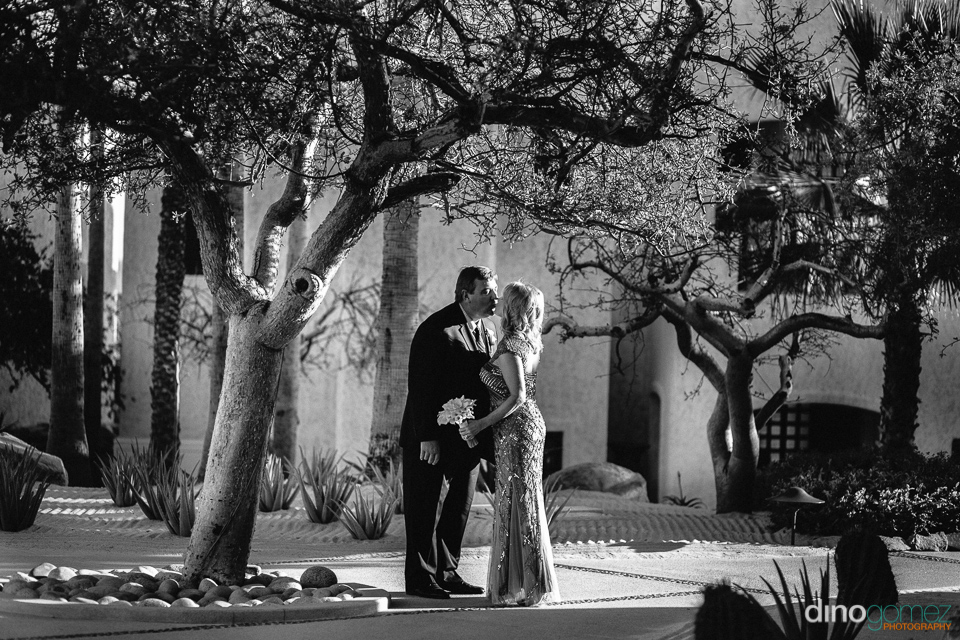 Couple kissing under a tree after renewing their vows in Mexico