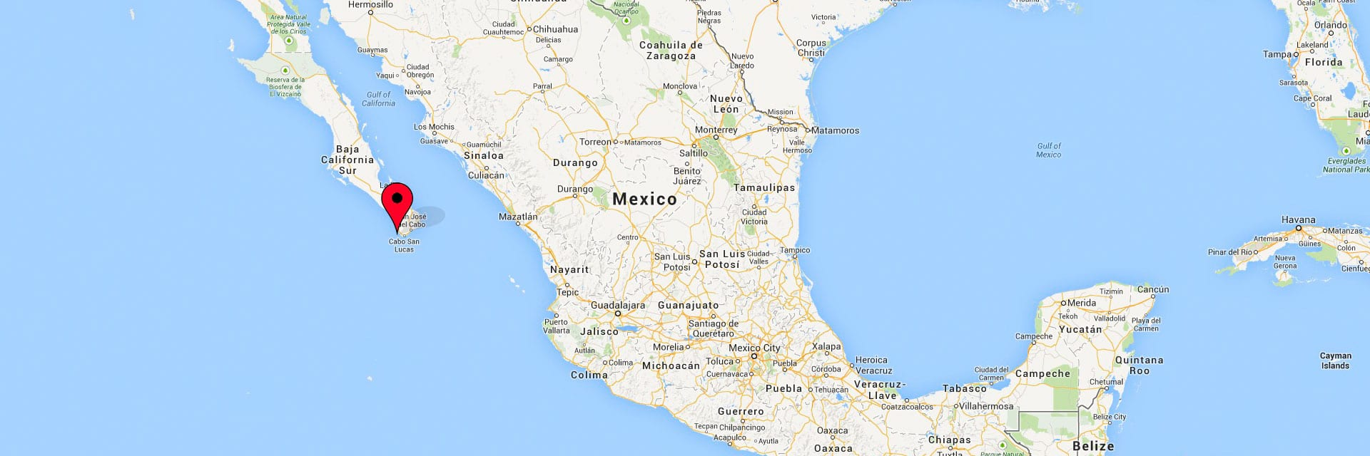 Map of Mexico for the contact page of Dino Gomez Photography