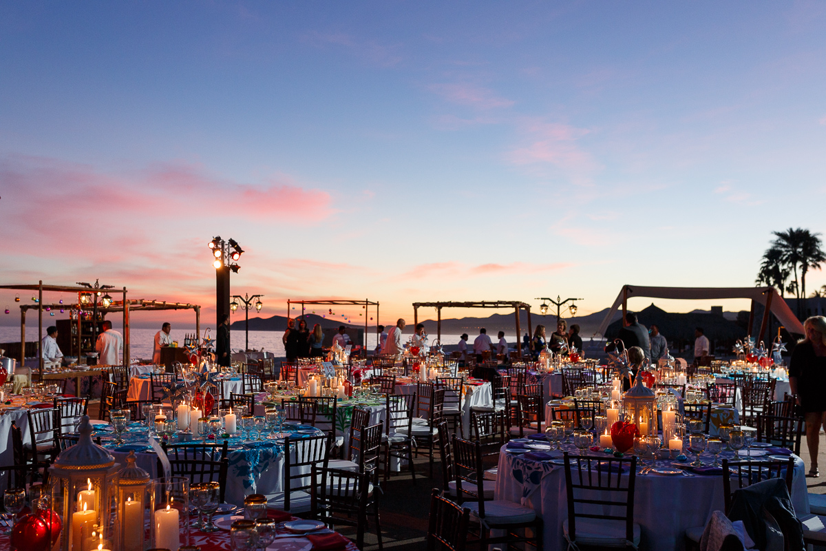 A shot of a beautiful event setup at sunset in Mexico