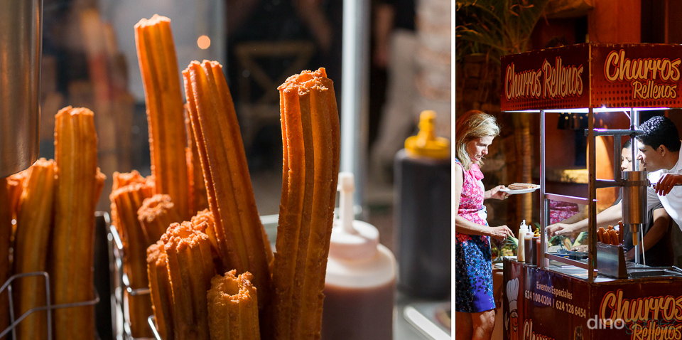 A shot of a churro stand at a wedding reception captured by destination wedding photographer in Cabo Dino Gomez
