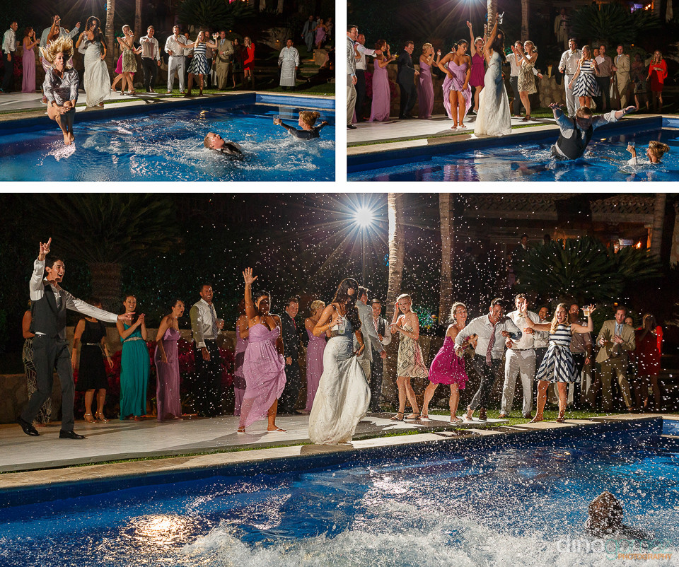 Beautiful shots of the wedding party jumping into the pool courtesy of photographers in Monterrey