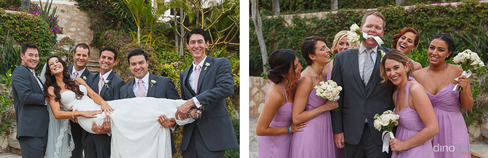 Cute bridal party poses with the groomsmen holding the bride and bridesmaids with the groom courtesy of destination wedding photographer Dino Gomez