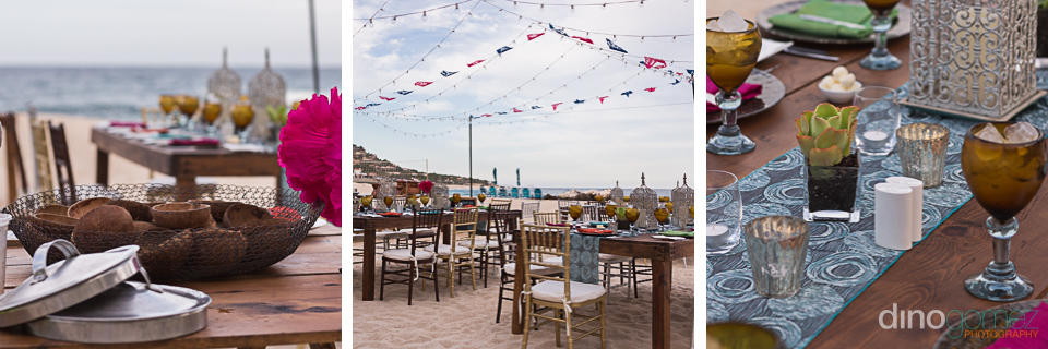 Welcome dinner table setting and decor courtesy of wedding photographer in Cabo Dino Gomez