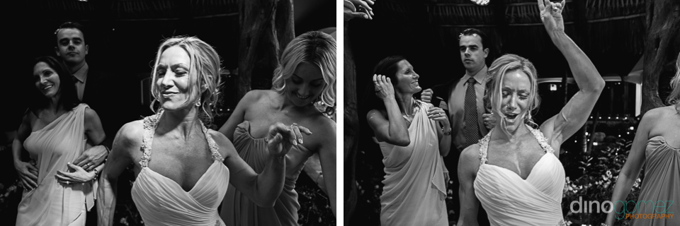 Black and white shots of the bride dancing at her wedding reception