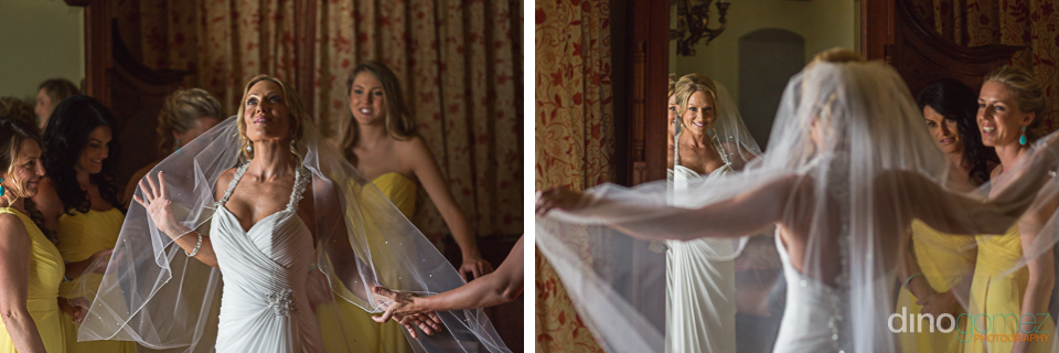 Shots of the bride with a beautiful long veil courtesy of photographer in Riviera Maya Dino Gomez