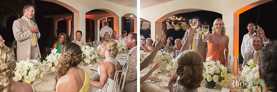 Guests toasting at the destination wedding reception in Mexico