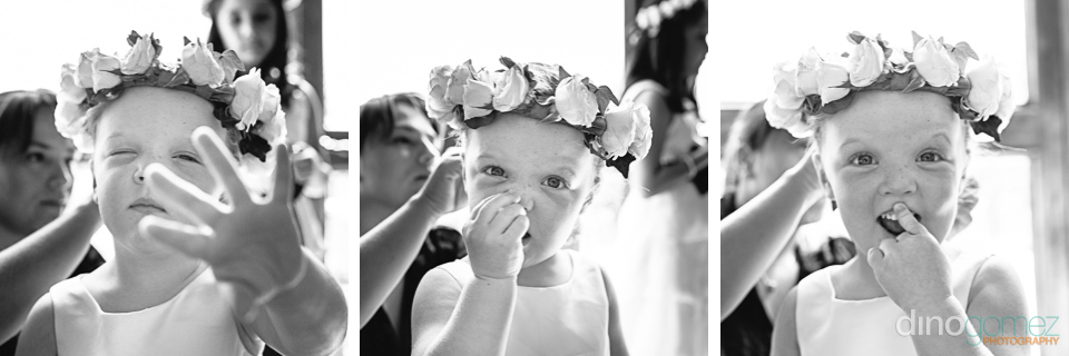 Flower girl getting ready shots by wedding photographer in Cabo Dino Gomez