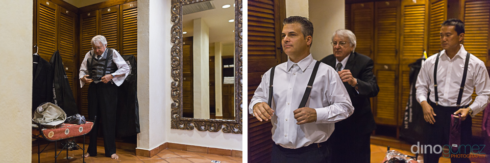 Groom getting ready photos by destination wedding photographer in Cabo Dino Gomez