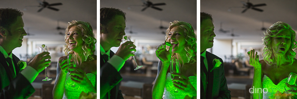 Young wedding couple drinking Tequila shots at the bar