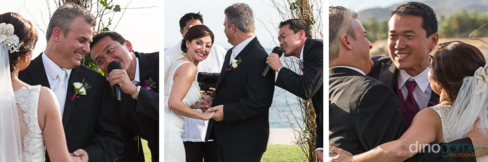 Best man singing at the wedding by photographer in Riviera Maya Dino Gomez