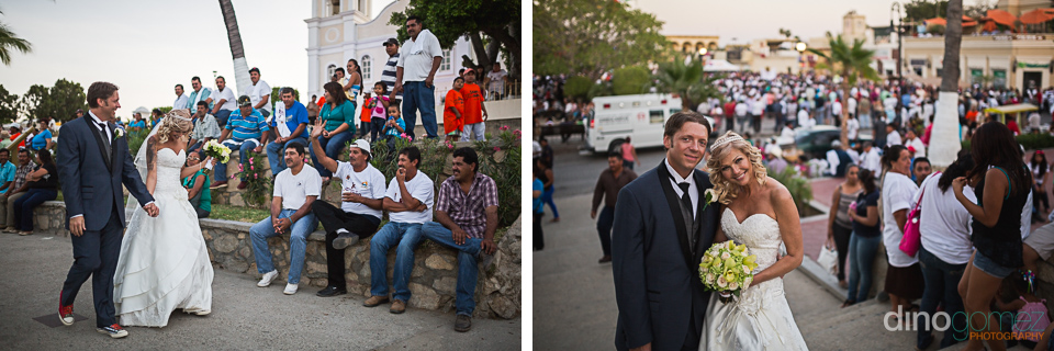 Bride and groom walking on the streets after the wedding in Mexico