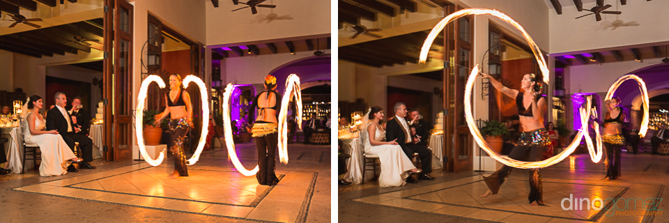 Fire dancers performing at the wedding reception