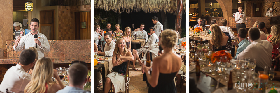 Candid shots of the wedding guests during the speeches courtesy of destination wedding photographer Dino Gomez