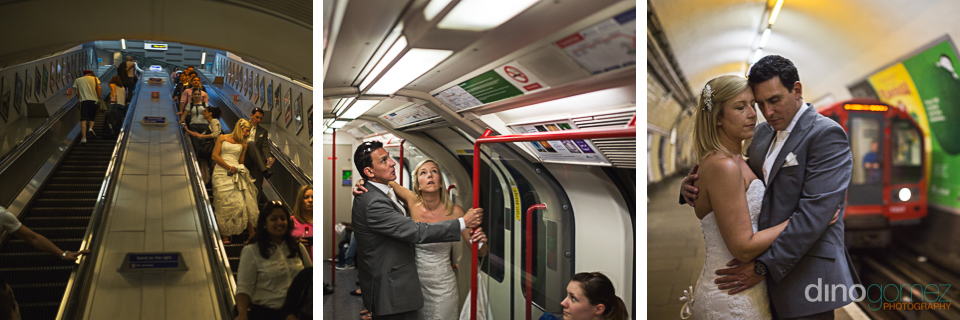 Newlyweds at the underground station in London with wedding photographer Dino Gomez
