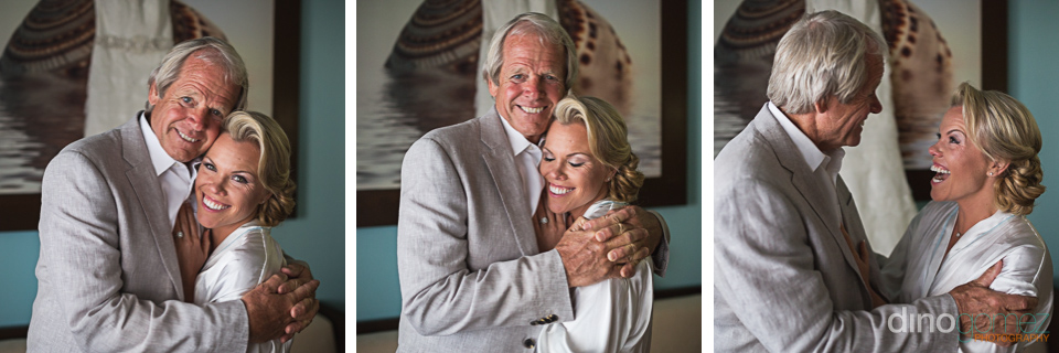 Three beautiful shots of the bride with her dad before the ceremony in Mexico