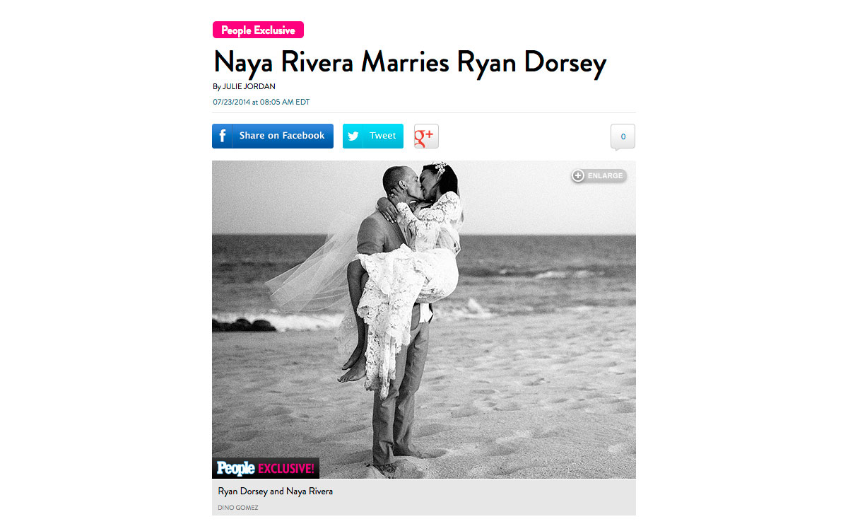 A shot of recently married Naya Rivera and actor Ryan Dorsey in Mexico