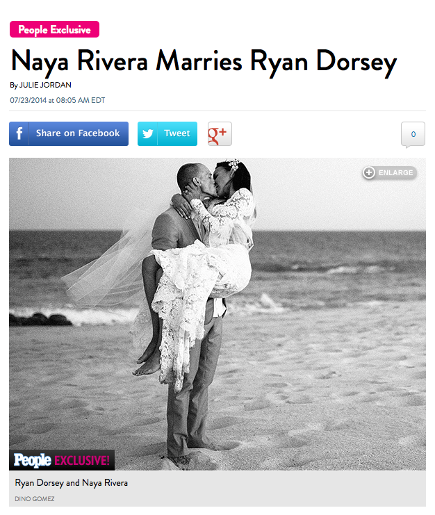 Photo from Cabo Mexico of Naya Rivera and Ryan Dorsey's wedding