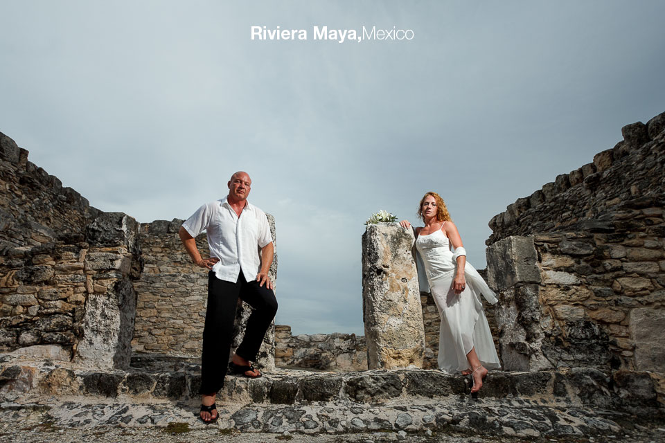 Bride and Groom photo session at an archeological site in the Riviera Maya by Destination Wedding Photographer Dino Gomez based in Los Cabos, Mexico
