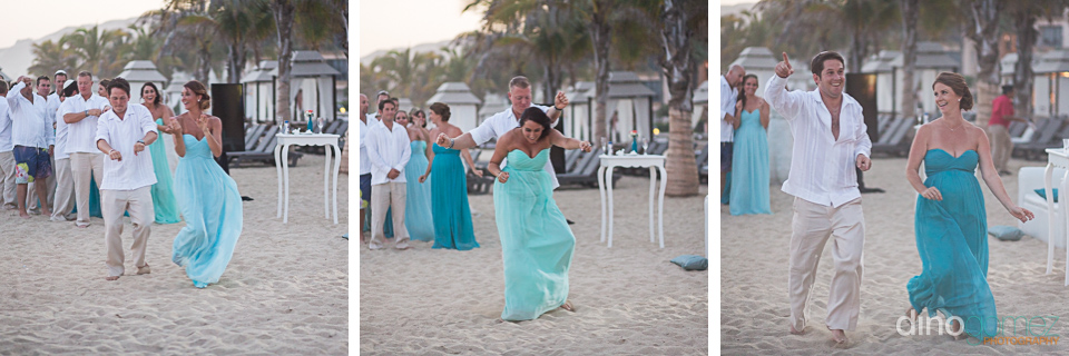 The bridal party entrance to the wedding reception on the beach in Mexico