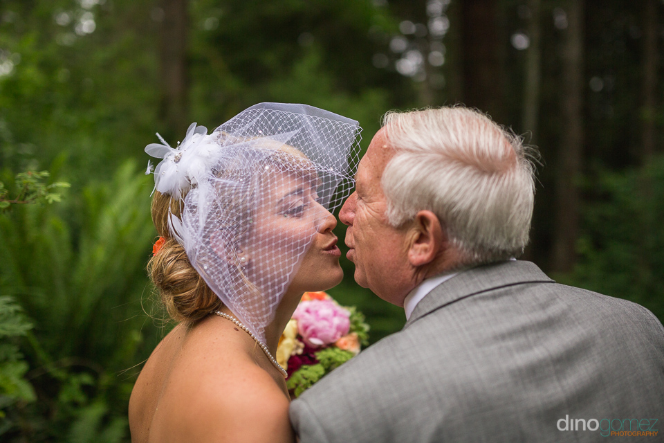 bride and dad last kiss before ceremony