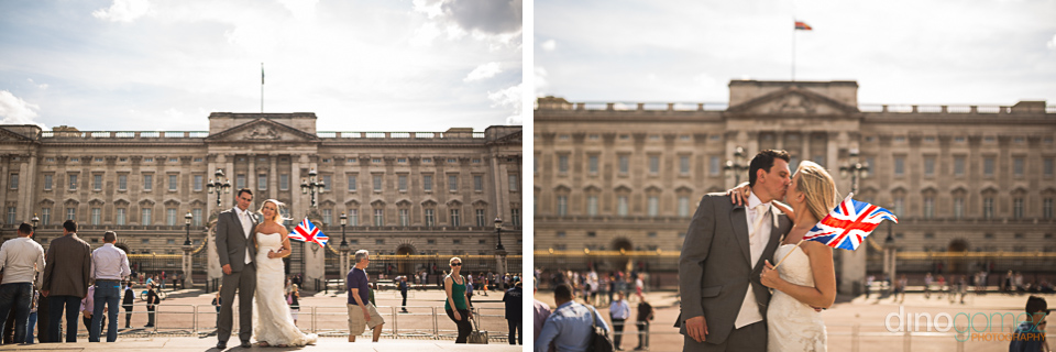 Shots of the bride holding a Union Jack flack and kissing at Buckingham Palace