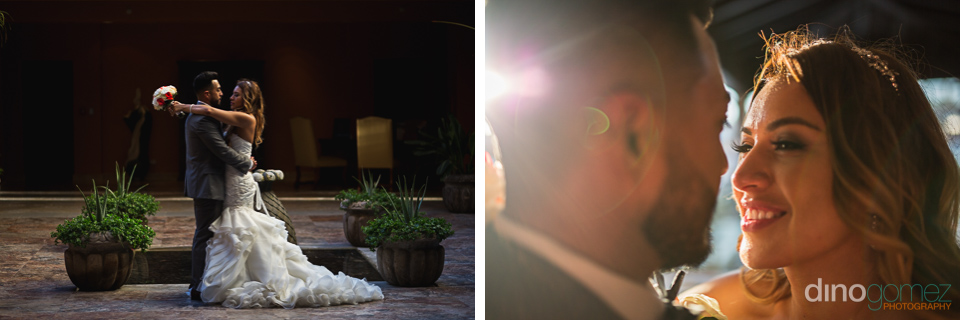 Two shots of a beautiful bride and her handsome groom sharing tender moments after the wedding