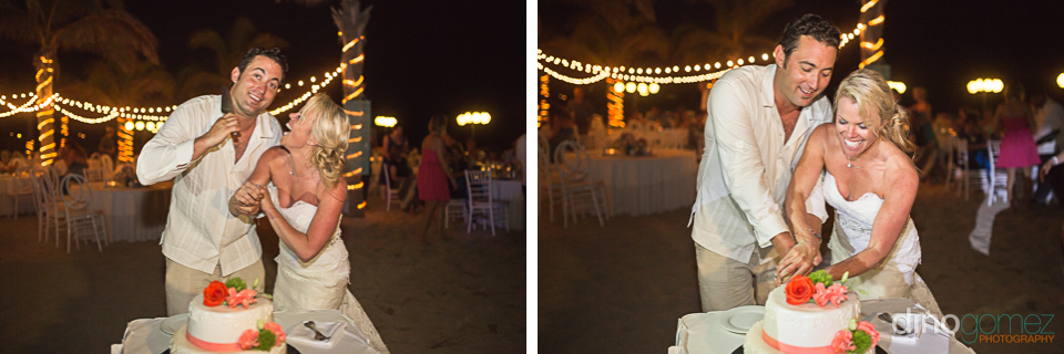 Two shots of the bride and groom cutting the cake courtesy of destination wedding photographer Dino Gomez