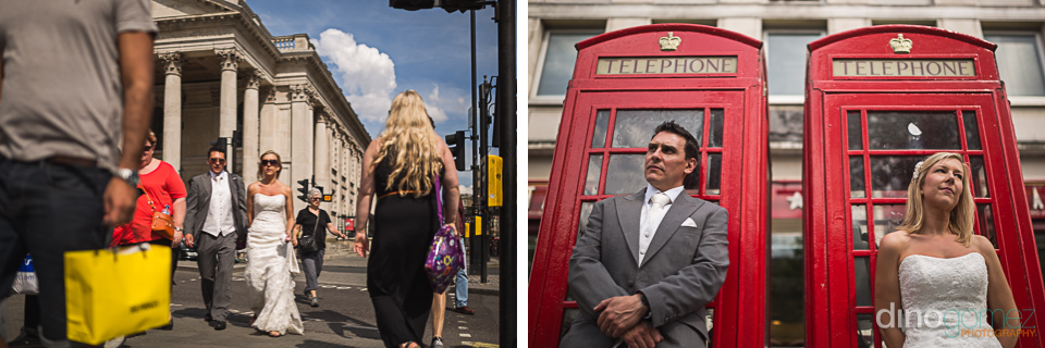 Wedding couple walking in London and standing next to two red phone booths