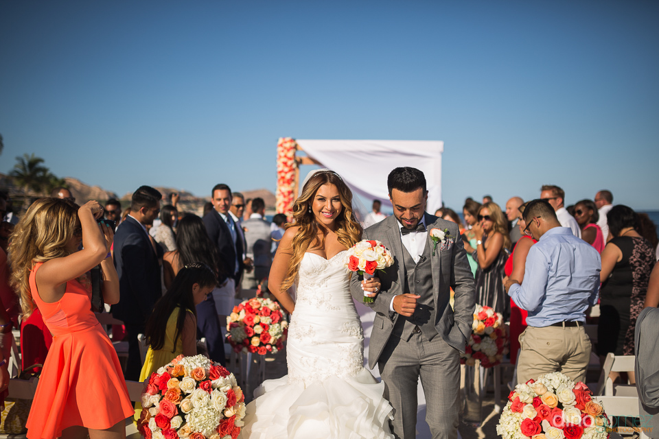 bride walking with groom at the end of ceremony