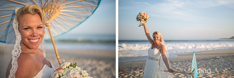 The happy bride posing with her wedding bouquet and an umbrella on the beach in Mexico