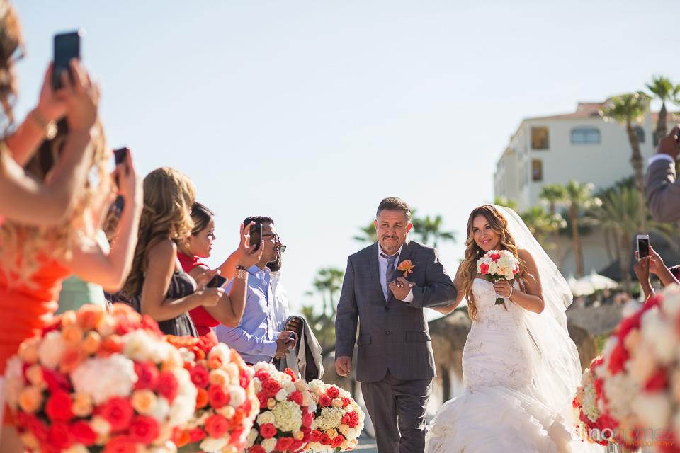 father walking bride at wedding hilton los cabos