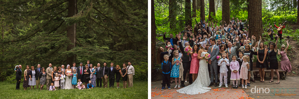 Group wedding shots in the Portland woods by destination wedding photographer Dino Gomez
