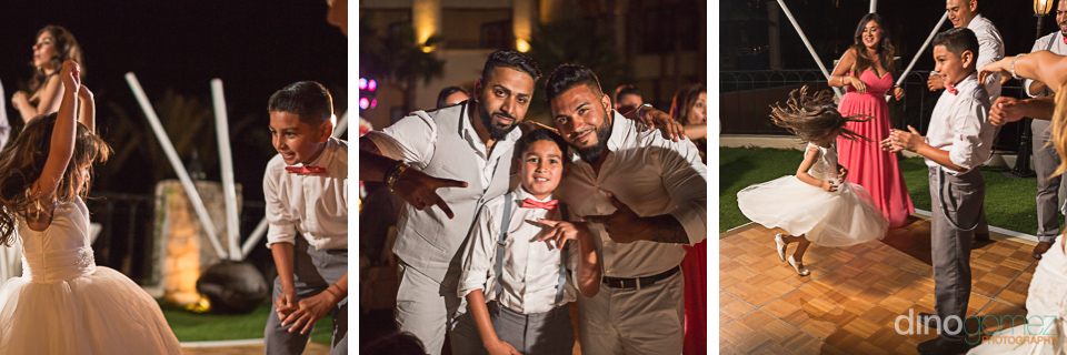Three beautiful shots of the kids having fun by destination wedding photographer Dino Gomez