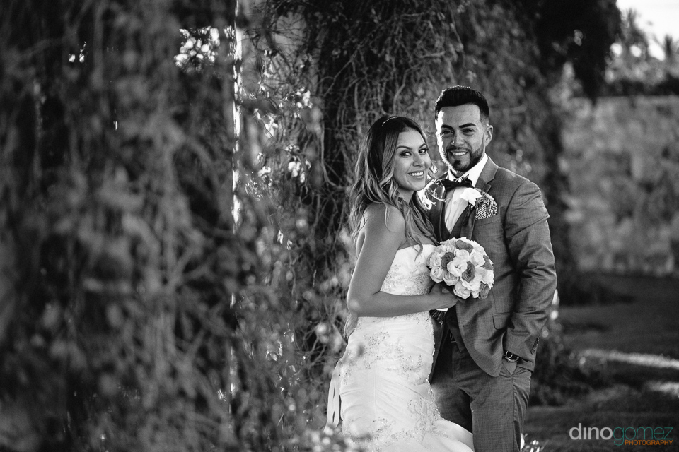 portrait black and white of bride and groom