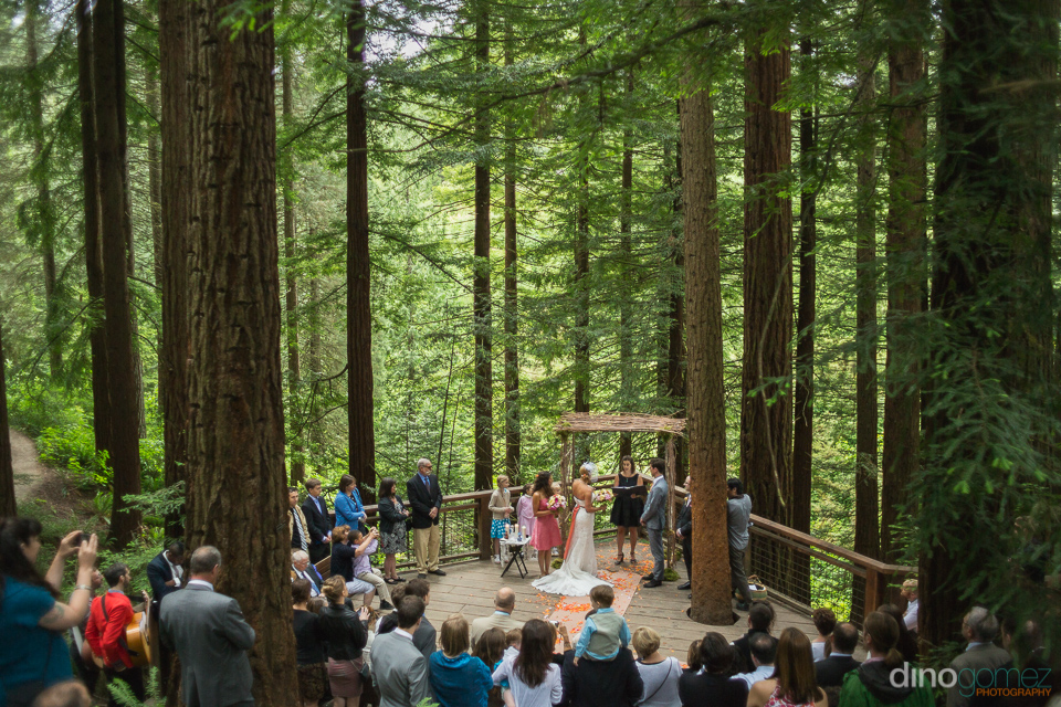 redwood deck wedding ceremony portland