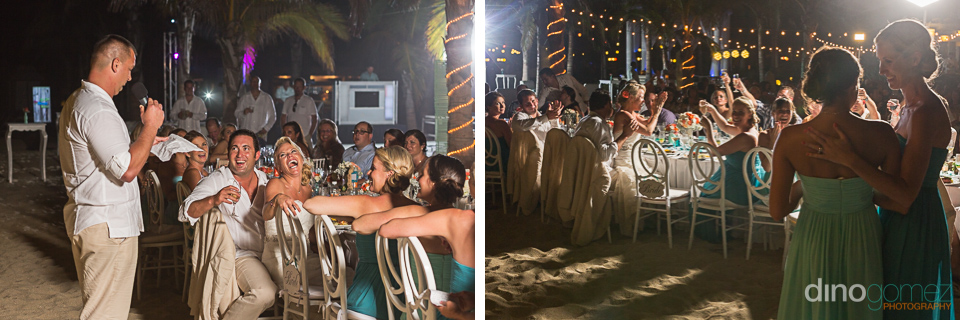 Shots of the best man giving his speech and the guests cheering by wedding photographer Dino Gomez