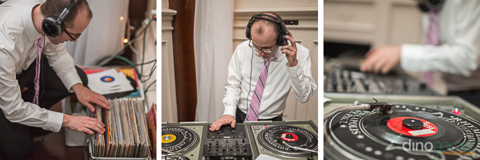 Three shots of the wedding DJ playing at the reception
