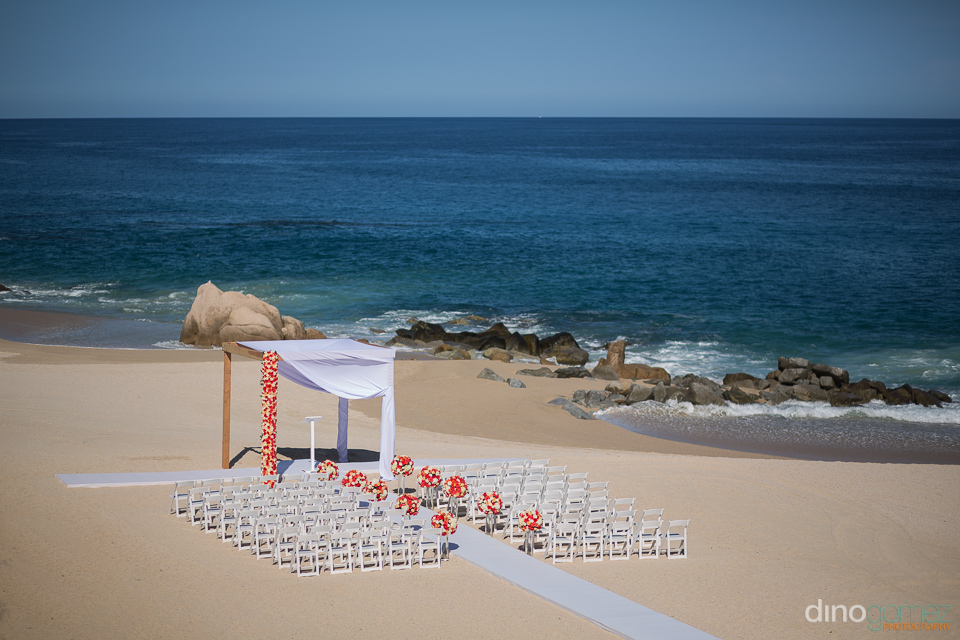 wedding ceremony area at the hilton los cabos
