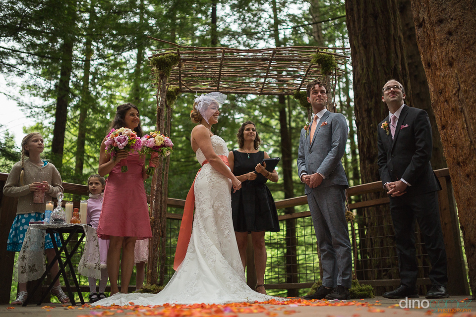 wedding ceremony at the redwood deck at the hoyt arboretum portl