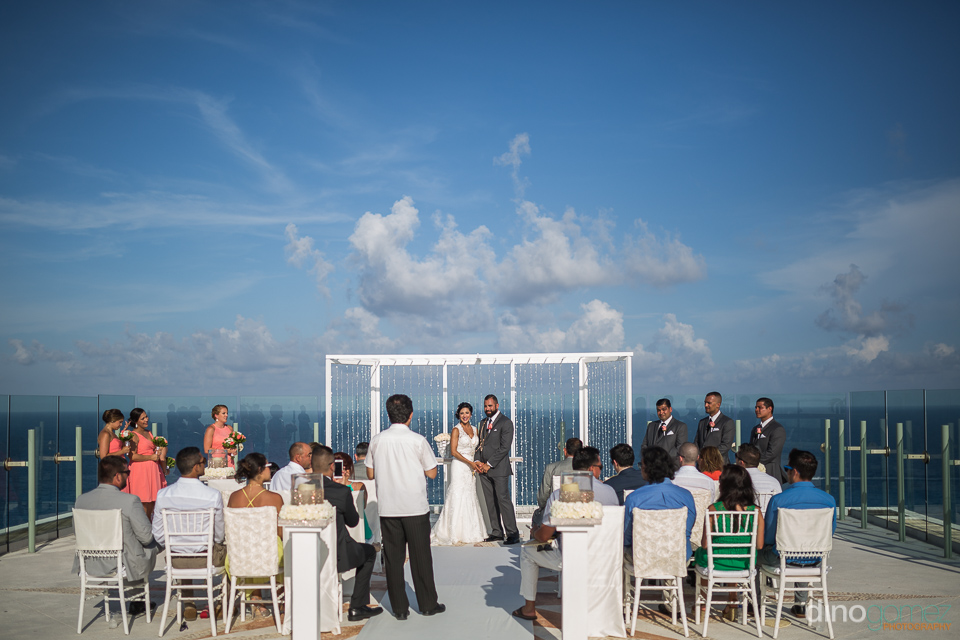 beach palace cancun rooftop sky pool wedding ceremony