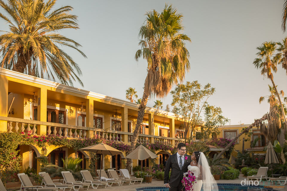 Bride and groom at hotel - Wedding Photographer in Mexico