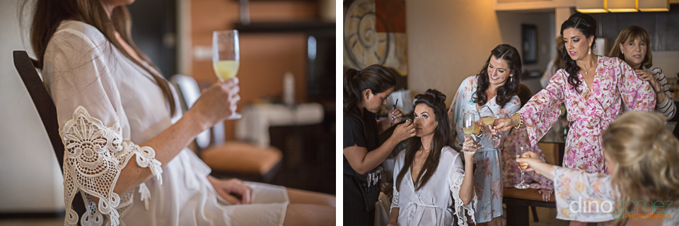 bride toasting during her make up and hair getting ready