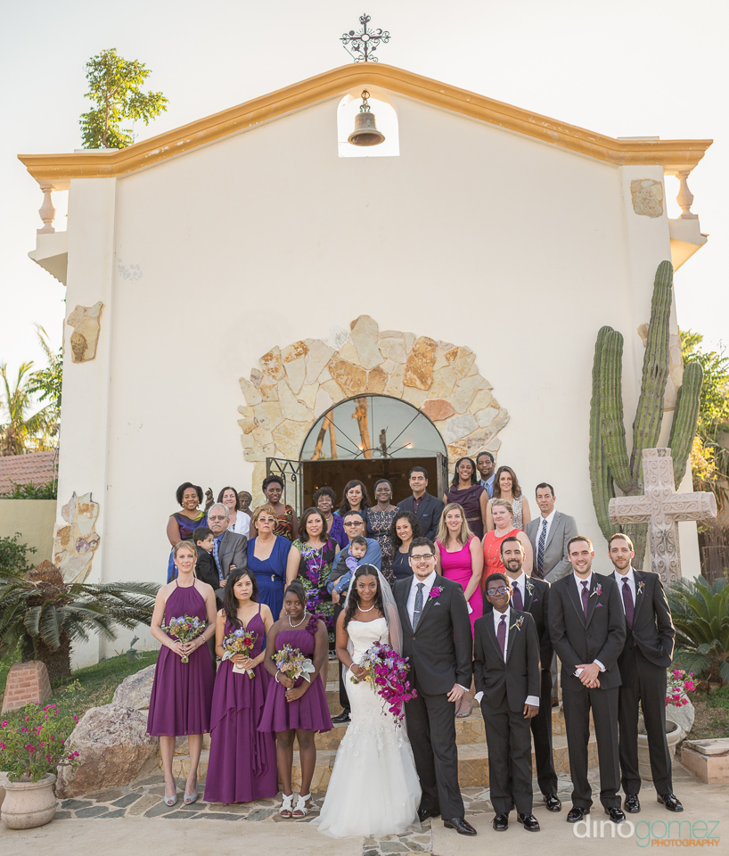 guests in front of church - Wedding Photographer in Mexico