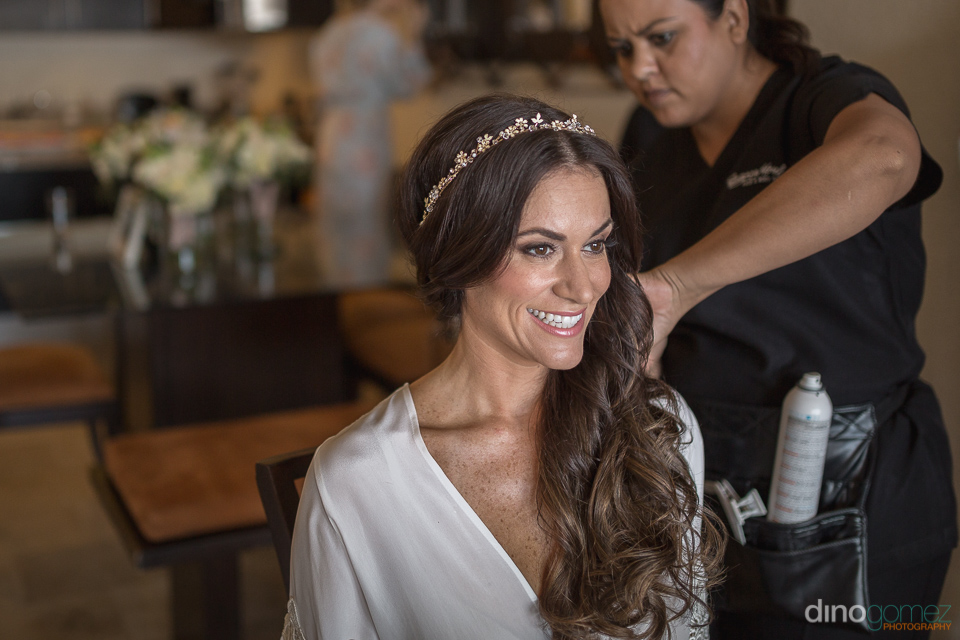 happy bride getting ready - Monica & Parker Wedding by Photograp