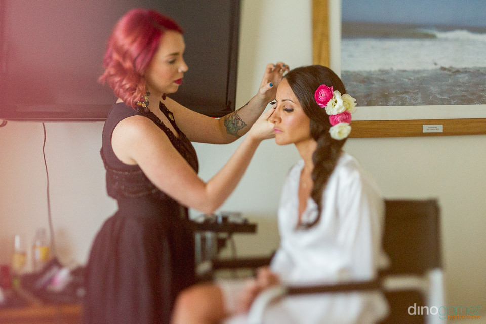 Bride Getting hair and make up done - Cabo Wedding Photographer
