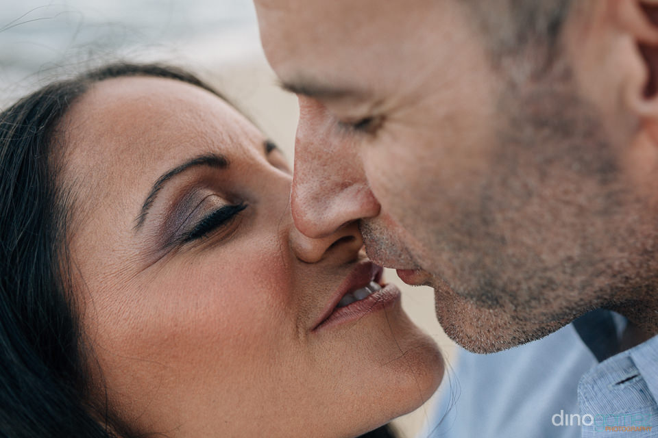 Closeup Photo of a couple kissing during their engagement sessio