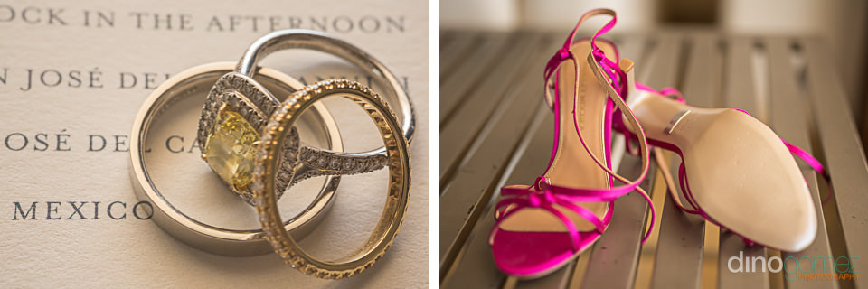Cabo Wedding Photographer photo of the Wedding ring and pink shoes