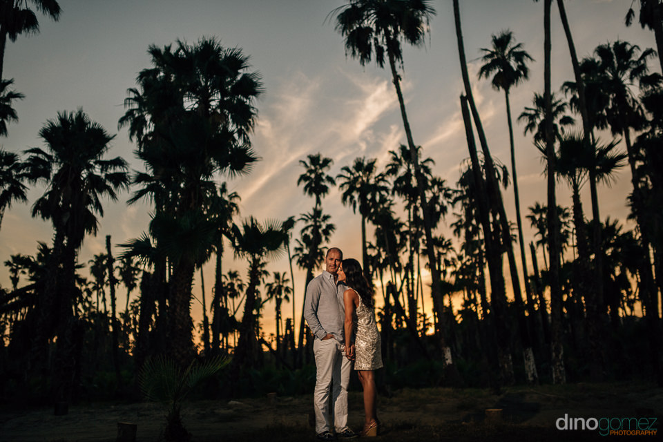 Sunset Photo of a couple surrounded by palm trees at El Estero S