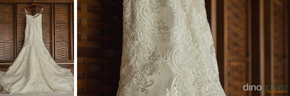 Wedding Dress details Dreams Riviera Cancun